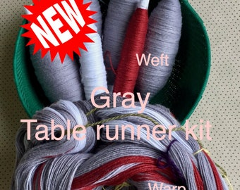 Gray Table Runner Kit, Weaving Loom Kit, How to Weave Kit, Loom Weaving, DIY Weaving Kit, Pre-wound Warp, Handweaving