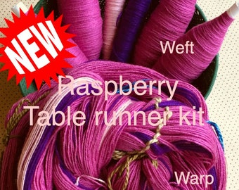 Raspberry Table Runner Kit, Weaving Loom Kit, How to Weave Kit, Loom Weaving, DIY Weaving Kit, Pre-wound Warp, Handweaving