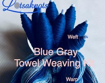 Beginner Weaving Kit, Blue Gray Towels, Weaving Loom Kit, DIY Weaving Kit, How to Weave Kit, DIY Weaving Kit, Loom Weaving, Pre-wound Warp