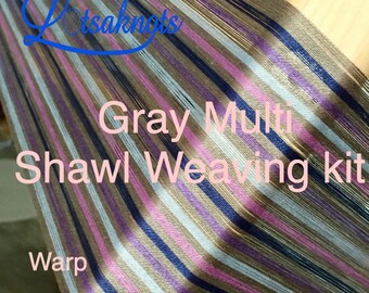 Gray Multi Weaving Kit, Shawl kit, Weaving Loom Kit, How to Weave Kit, Loom Weaving, DIY Weaving Kit, Pre-wound Warp, Handweaving