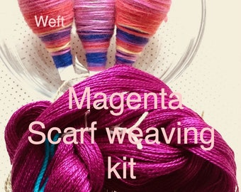 Beginner Weaving Kit, Scarf Weaving Kit, Magenta Pink Scarf Kit, Weaving Loom Kit, How to Weave Kit, Loom Weaving, DIY Weaving Kit