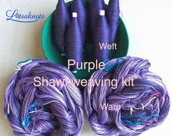 Purple Weaving Kit, Shawl kit, Weaving Loom Kit, How to Weave Kit, Loom Weaving, DIY Weaving Kit, Pre-wound Warp, Handweaving