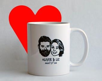 Personalized gift for coffee lovers couple Custom portraits Inspirational mug Unique art personal mug / wedding / valentine's gift idea