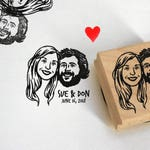 Custom stamp illustrated portrait Wedding favors Save the date custom address stamp gift Unique couples' art / Personalized Gifts for couple