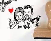 Custom stamp family portrait Personalized gift for pet lovers Holiday Greetings cards Illustrated return address stamp wedding birthday dog