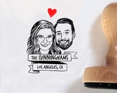 Custom couple portrait stamp for save the date Personalize gift