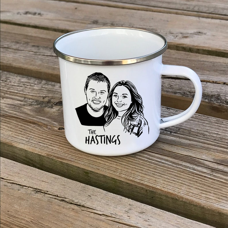 Valentines day gift Custom couple portrait camp mug for image 0