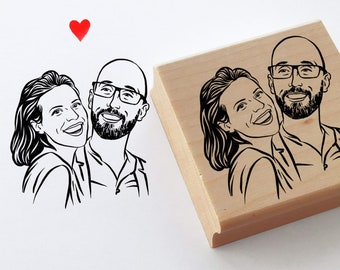 Personalized gift portrait stamp gift for couple