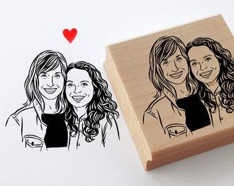 Custom portrait stamp for valentine wedding Personalize gift