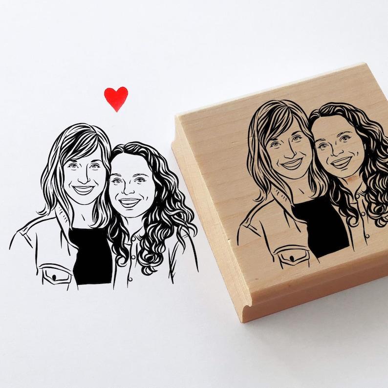 Custom portrait stamp for valentine wedding Personalize gift image 0