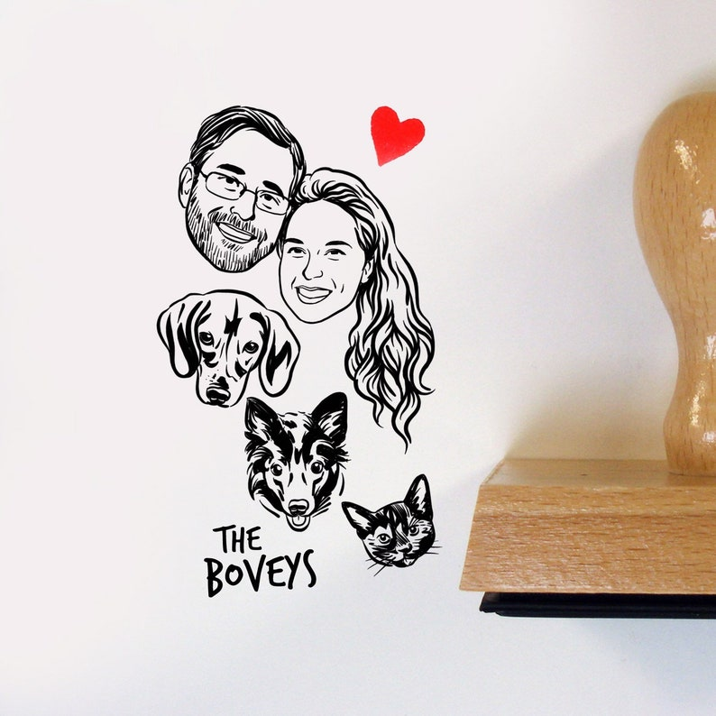 Custom portrait family stamp for pet lovers image 0
