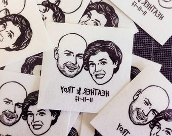 Custom portrait Personalized gift for couple Wedding favors for guest custom Save the date bachelorette party engagement fiance face idea