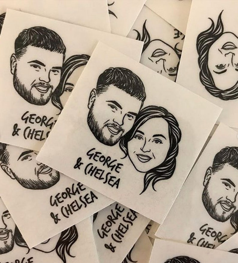 Personalized temporary tattoos for wedding party gift
