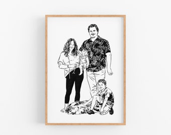 Gift for mom dad Custom family portrait drawing print for Personalize gift