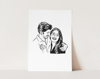 Valentine's Day Personalized gift custom couple portrait for wedding party Christmas