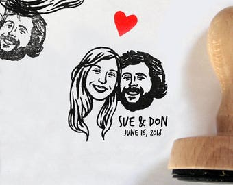 Custom portrait Personalized gift for couples wedding favors / Custom couples portrait stamps / self inking / bachelorette bride mrs stamp
