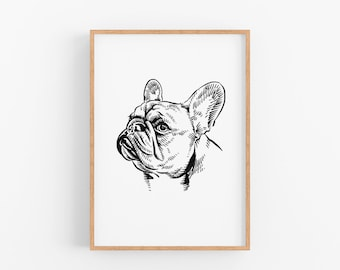 Personalize pet portrait drawing print for anniversary gift