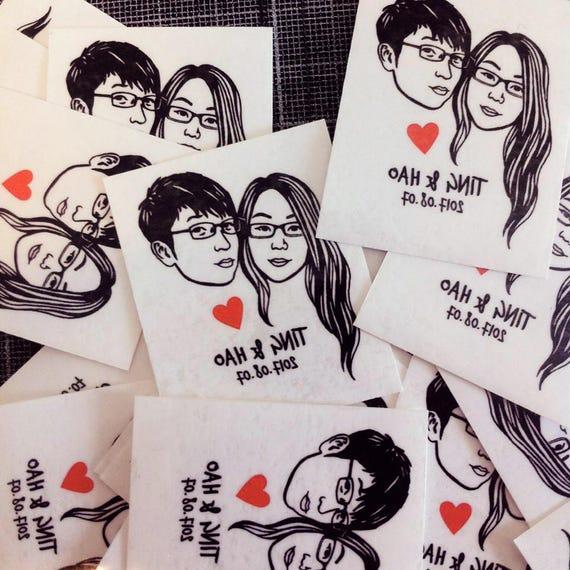 Tatouage Temporaire Portrait Personnalise Pour Mariages Etsy