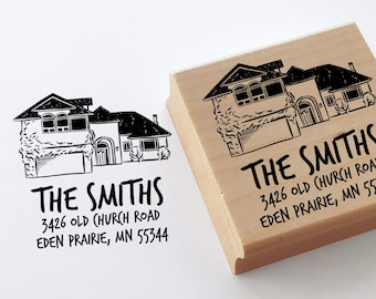 Personalize gift return address stamp with home drawing