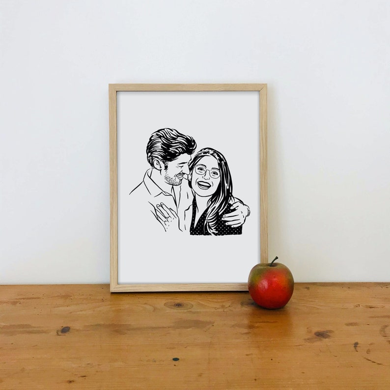 Custom couple portrait drawing print for wedding gift image 0