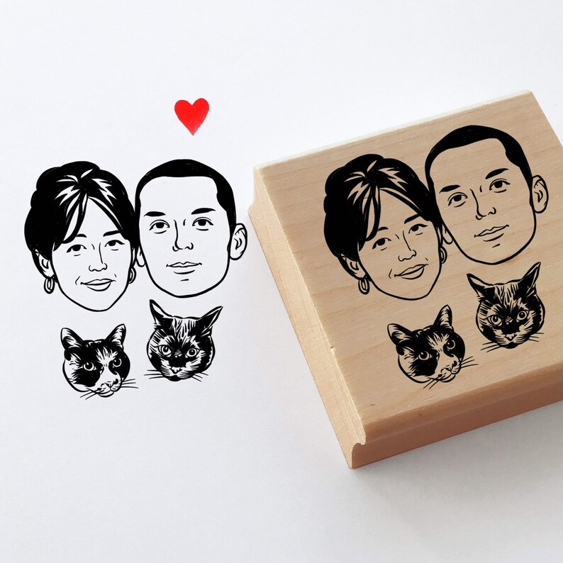 Family portrait stamp for personalized return address image 0