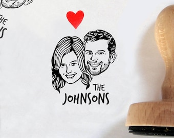 Custom portrait Personalized gift for couple save the date portrait engagement / Custom stamps / valentine / bachelorette bride mrs stamp