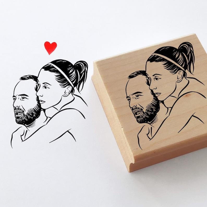 Custom portrait stamp for wedding stationery image 0