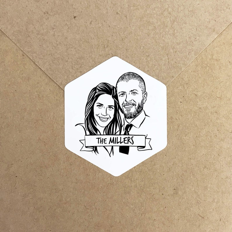 Personalized portrait Stickers for wedding save the date image 0