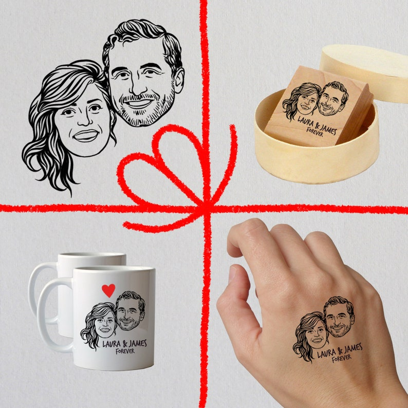 Personalized Wedding Party Gift SET of Stamp Mugs Tattoos image 0