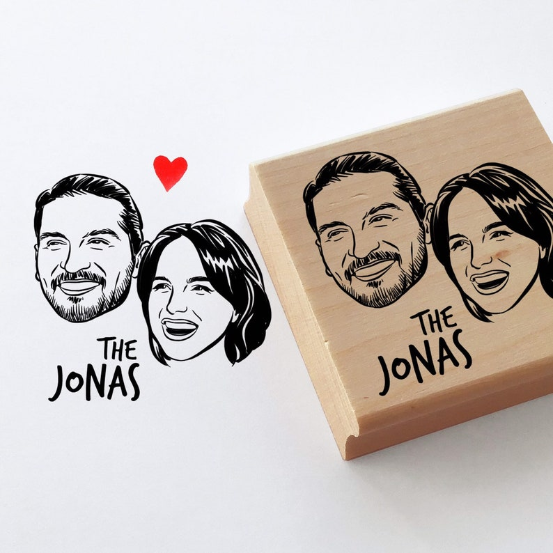 Personalized portrait stamp gift for couple image 0