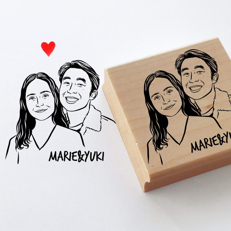 Custom portrait stamp for wedding stationery image 0