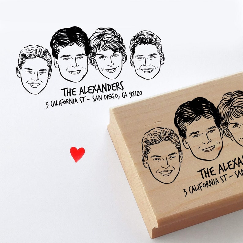 Gift for mom dad Family portrait stamp for Personalize gift image 0
