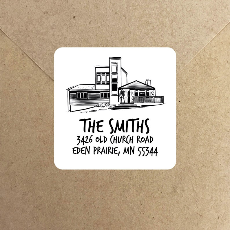 Personalized Home drawing Stickers for return address image 0