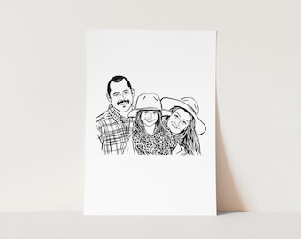 Gift for mum mom dad Custom portrait drawing for personalize gift and party