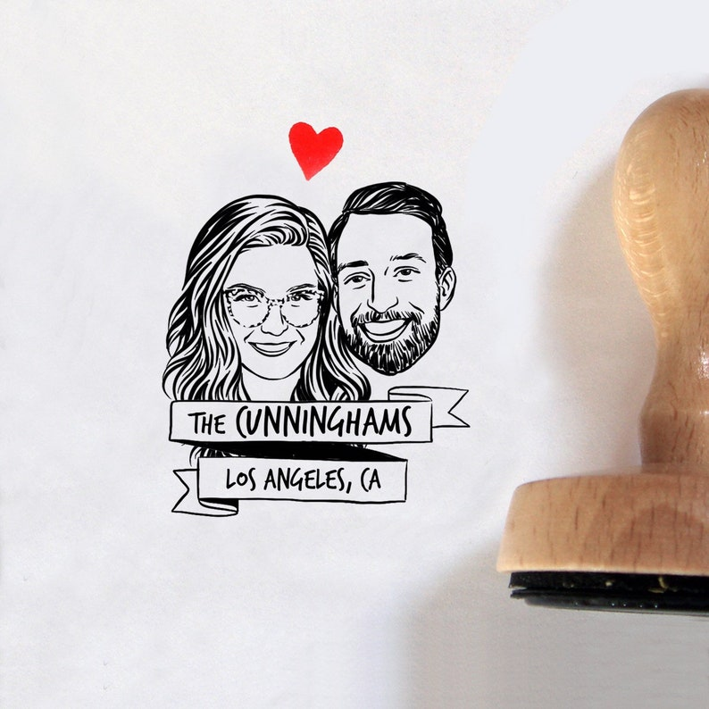 Custom couple portrait stamp for save the date image 0