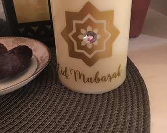 Ramadan Mubarak, Eid Mubarak, candle, Ramadan decor, Eid decor, Ramadan Mubarak candle, Eid Mubarak candle, crescent moon, ecru color candle