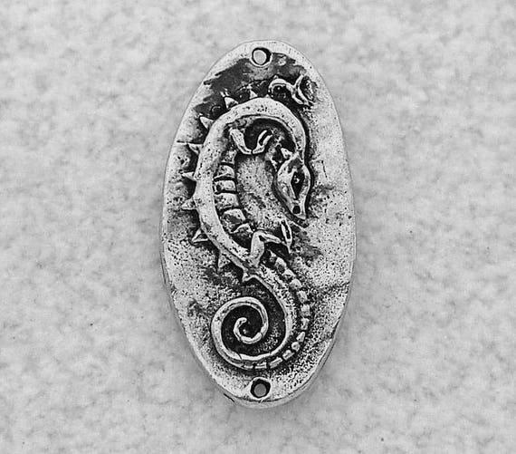 Celtic Dragon Pewter Pendant Link by Green Girl Studios