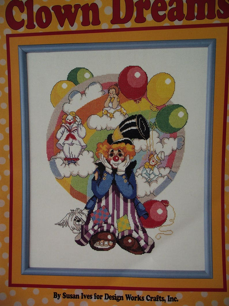 CROSS STITCH PATTERN Clown Dreams Leisure Arts Leaflet Wall Hanging