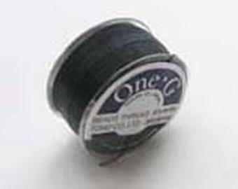 One G Beading Thread, Black - made in Japan by the Toho Beading Company, one 50 yard bobbin