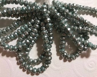 5x3mm Rondelles, Czech glass - Green Turquoise Mercury  strand of 30 beads.