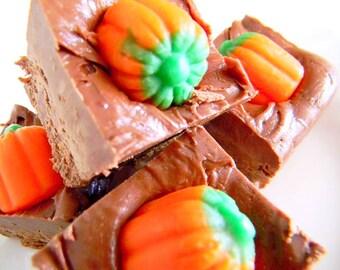 Julie's Fudge - PUMPKIN PATCH - Dark Chocolate & Bourbon Vanilla with Candy Pumpkin Toppers - One Pound