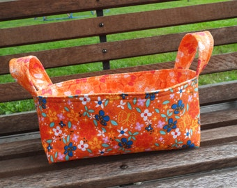 Fabric Basket Bin, Storage, Organization, Gift Bin, Home Decor, Butterflies and Flowers, Small Size