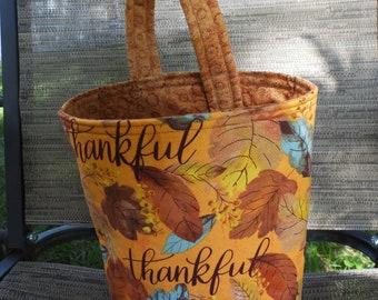 "Car Trash Bag,Trash Bin,Cute Car Accessory,Headrest Bag,Trash Container,Walker Bag,Toy Organizer,Bedpost Bag,Leaves and ""Thankful"""