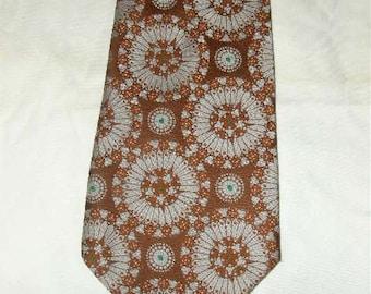 """Groovy Looking Vintage 1960's Anhurst 5"""" Wide Brown/Rust/White Medallion Men's Neck Tie Ties EC"""