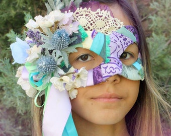 Cordelia - OOAK Summer Twilight Masquerade Mask in Purple, Turquoise, Sage Green, and Ivory