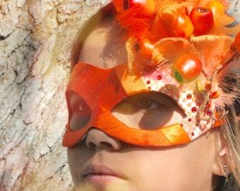 Zhar - Firebird Inspired Masquerade Ball Mask in Bright Fiery Orange - Russian Folk Tale