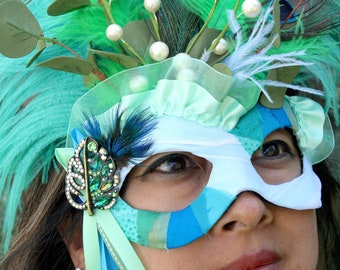 Anuket - Goddess-inspired Masquerade Mask in Turquoise, Green, and Blue with Peacock Feathers, Ostrich Plumes, and Jeweled Brooch