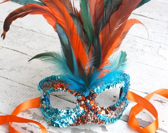 Phoenix - Spectacular Carnival-Style Bird Mask in Vibrant Orange and Teal Blue Hand-placed Sequins with Coque Feathers
