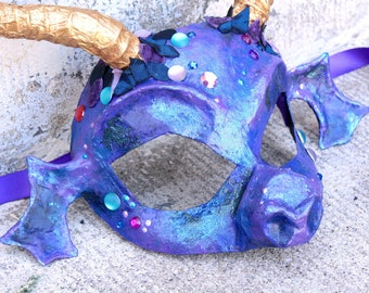 Mim - Purple Dragon Masquerade Ball Mask in Papier-Mache with Horns and Jewels