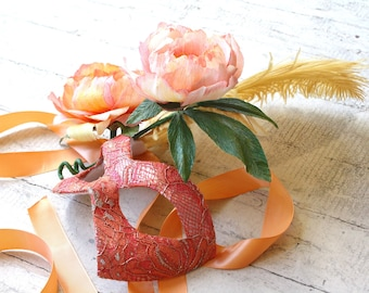 Paeonia - Handmade Masquerade Ball Mask Featuring Handmade Paper Flowers - Peach, Coral, and Gold - One of a Kind